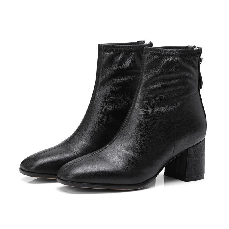 89ae28ebedce56 Vente black Femmes Cuir Bottes En Cheville Carrés Chaussures Talons Pour  Véritable Mode Simples Bout Memunia ...