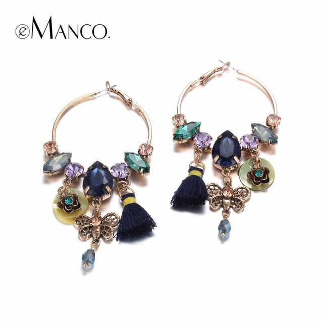 eManco 3 Colors Ethnic Bohemia Tassel Charms Hanging Drop Dangle Earrings for Women Seashells Crystal Ear Brand Jewelry