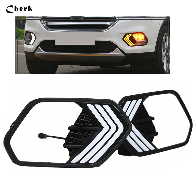 For Ford Escape Kuga 2017 2018 white Daytime Running Light fog lamp white+yellow with Turn Signal DRL LED 2PCS eosuns led drl daylights daytime running light with yellow turn signal fog lamp for ford mondeo 2010 12 wire module controller