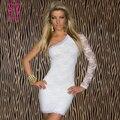 Элегантный Одно Плечо С Длинным Рукавом Белого Кружева с Цветочным Узором Платье Женщины Клубная Одежда Лето Плюс Размер Сексуальные Платья XXL Vestidos Mujer 2016