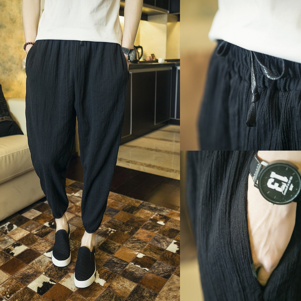 M-6XL!!!!  big baggy pants  2018  Summer male fluid ankle length trousers linen thin slim casual pants harem