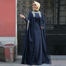 Vestido De Festa Longo Muslim Evening Gown Navy Blue Dubai Kaftan Applique Hijab Long Sleeve Islamic Middle East Party Dress