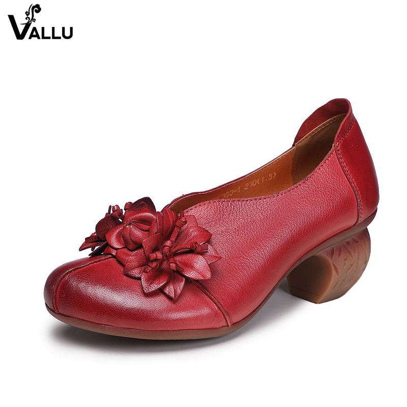 2018 VALLU Vintage Style Women Pumps Genuine Leather Handmade Flower Red Black Green High Heel Shoes