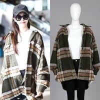 Tang Yan's Same Plaid Wool Jacket Tweed Windbreaker Medium length Loose Thicker for Women Spring 2019 Women Coats and Jackets