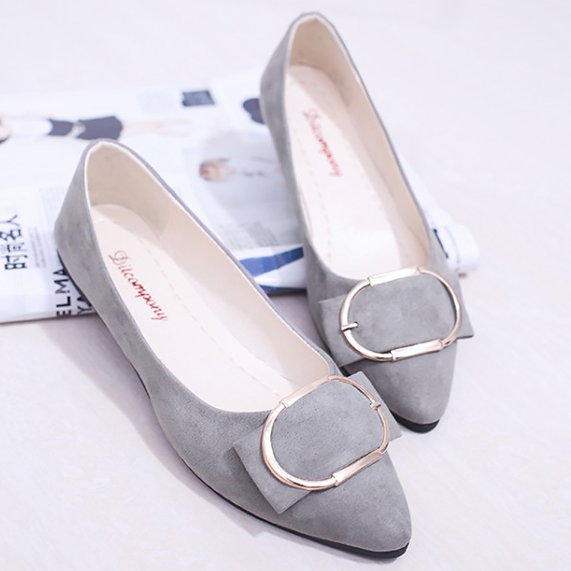 Flats women shoes flock metal decoration solid career boat shoes slip-on pointed toe chaep summer shoes zapatos mujer universe women flats 2017 new fashion pointed toe with metal decoration g046