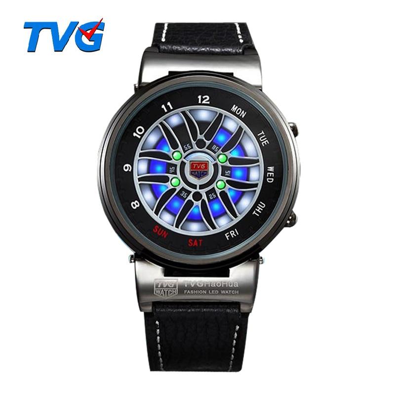 TVG márka férfi óra divat kék bináris LED mutató óra rozsdamentes acél 30AM vízálló órák órák férfiak Hommes