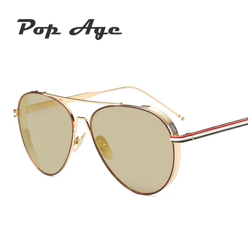 44152a6fb5c3e Pop Idade Alta qualidade Dos Óculos De Sol Das Mulheres Designer De Marca  de Moda Homens Piloto óculos de Sol óculos de Revestimento oculos de sol Do  ...