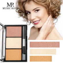 MUSIC ROSE Makeup Face Powder Three-color High-gloss Pearl Natural Three-dimensional Blush Repair Capacity