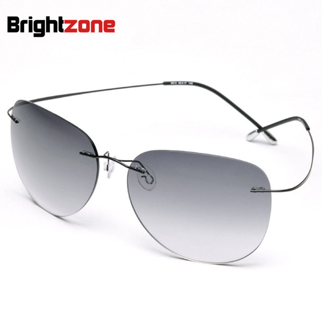 Highest quality New Titanium Frame Gradient Rimless Sunglasses Eyeglasses Men women Driving eyeglasses With Case Oculos de grau