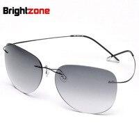 Plus haute qualité Nouveau Titane Cadre Gradient lunettes de Soleil Sans Monture Lunettes Hommes femmes Conduite lunettes Avec Étui Oculos de grau