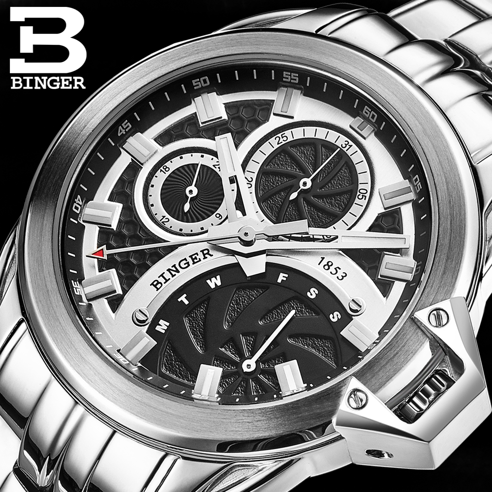 BINGER Hot Mens Watches Military Army Top Brand Luxury Sports Casual Waterproof Mens Watch Quartz Stainless Steel Man Wristwatch hot sale brand military watch date display mens watches full steel watches men s sports army quartz watch free shipping 029b