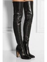 Для женщин Ботфорты до середины бедра черного цвета Женская квадратный каблук круглый носок молния Сапоги выше колена осенние модные мотоциклетные ботинки;