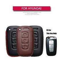 Genuine Leather Smart Car Key Cover Case For Hyundai Equus Genesis Veloster For KIA Sportage Forte Optima Soul Azera Sorento