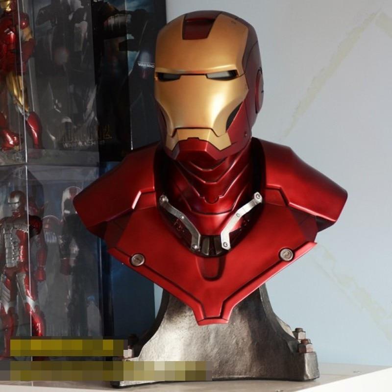 Homem de ferro Tony MK3 Strak (em TAMANHO REAL) 1:1 BIG Resina Estátua BUSTO Com Led Olho 61 cm H