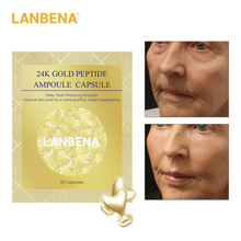 LANBENA 24K Gold Peptide Wrinkles Face Ampoule Capsule Facial Cream Day Skin Whitening Serum Anti-Aging Lifting Firming 30Grain