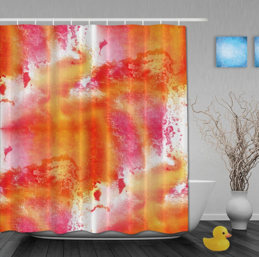 Aliexpress Buy Splash Printing Orange Shower Curtains Waterproof Fabric Bathroom Curtain With Hooks Custom For Home Decor From Reliable