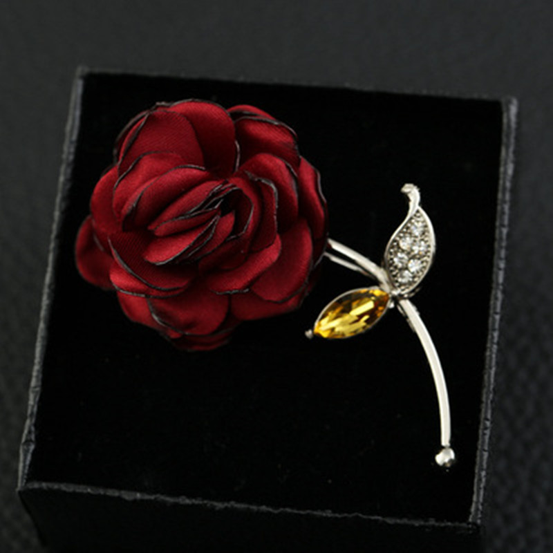 Brooch Flower Lapel Pin 6 Colors Women Men Fabric Rose Brooches Dress Accessories Wedding Party Formal Tuxedo Lapel Flower