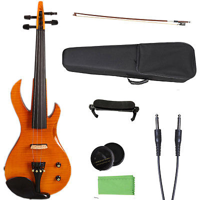 Yinfente 4/4 Violin Electric Guitar Shape Yellow Color Electric Violin Big Jack Sweet Sound Free Violin Case Bow