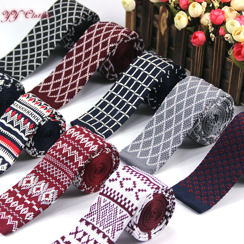 Mens Knit Ties New Casual Skinny Knit Neckties For Wedding Evening Party Gravata Slim Tie For Man Knitted Necktie  Stripe Dot