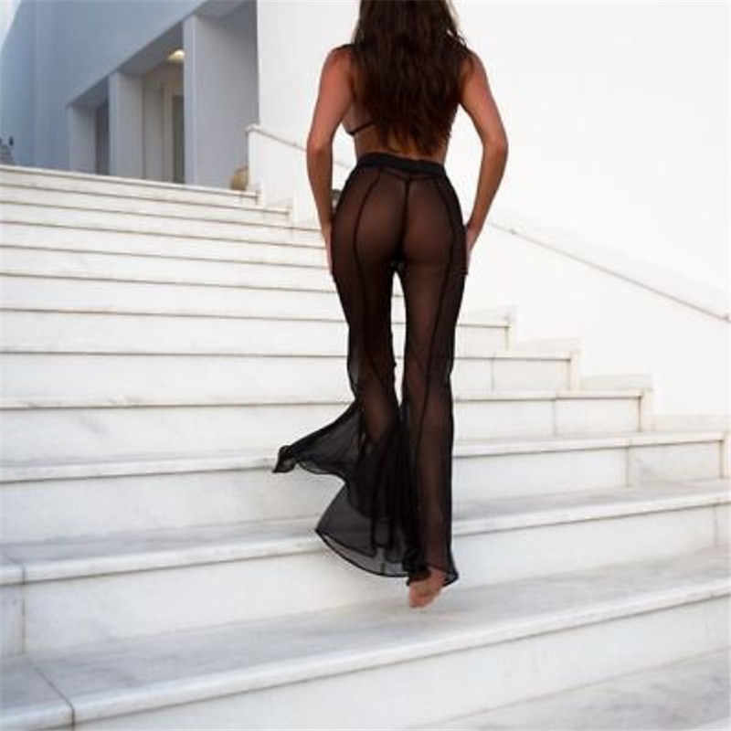 875fa6da0d1ae ... New Sexy Ruffle Women Beach Mesh Pants Sheer Wide Leg Pants Transparent See  through Sea Holiday ...