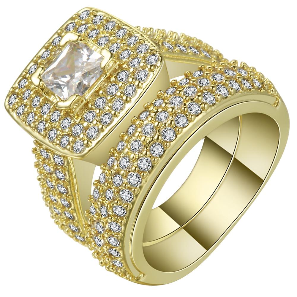 UFOORO Latest Fashion Male Female rhinestone Ring sets plated CZ ...