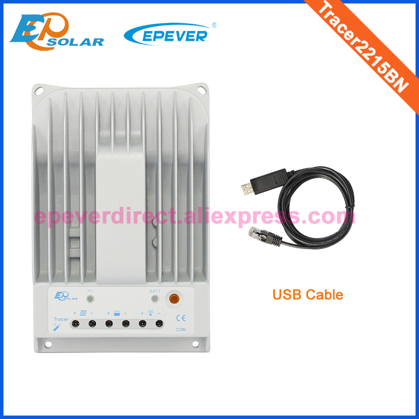 20A Tracer2215BN solar charge controller with USB cable for 260w 12v solar panel system use 12v 24v auto work
