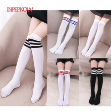 INPEPNOW Tights for Girls Tights for Children Striped Baby Girls Stockings Kid #8217 s Pantyhose Knee Socks Girls toddler tights 2-12Y cheap COTTON NYLON Fits true to size take your normal size tights for girls WZ-CZX32 Red Black White Green Blue Purple Pink Yellow