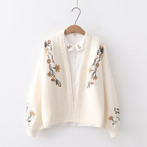 Image 3 - Suéter de punto con bordado de flores y manga linterna de muelle, cárdigans de punto, estilo Preppy, holgado, con cuello en V, para otoño
