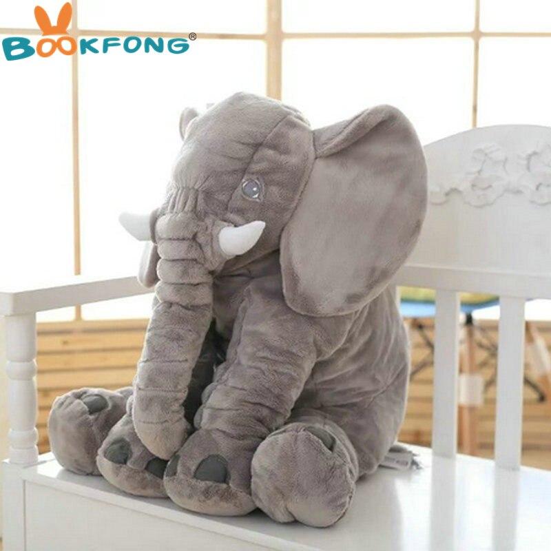 BOOKFONG 60 cm Grand Éléphant En Peluche Poupée Jouet Enfants Dormir Dos Coussin Mignon En Peluche Éléphant Bébé Accompagner Poupée Cadeau De Noël