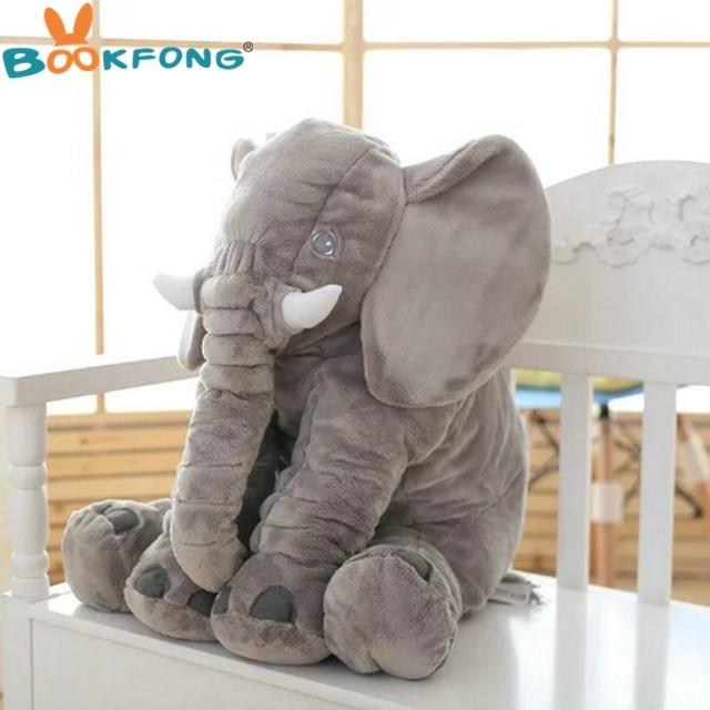 BOOKFONG 60cm Large Plush Elephant Doll Toy Kids Sleeping Back Cushion Cute Stuffed Elephant Baby Accompany Doll Xmas Gift