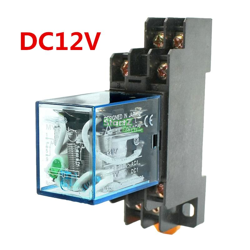 HH52P MY2NJ Model DPDT 12VDC DC24V AC110V AC220V Coil 8 Pin 35mm DIN Rail Power Relay + Socket 3 pcs din rail mounting plastic relay socket base holder for 8 pin relay pyf08a