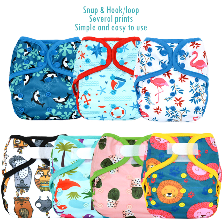 Miababy Onesize cloth diaper cover with or without bamboo insert,waterproof and breathable, easy to wash off the solid.