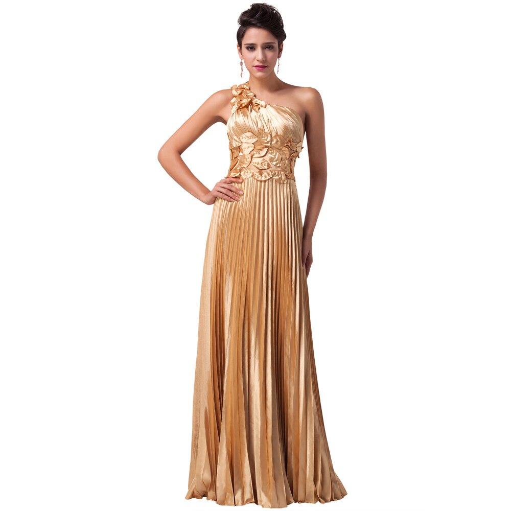 Unique Gold Leaves design One Shoulder Ball Prom Dress Floor ...