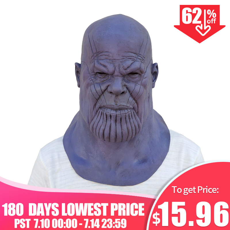 Deluxe Thanos Mask Infinity Gauntlet Avengers Infinity War Gloves Helmet Cosplay Thanos Masks Halloween Party Collection Props(China)
