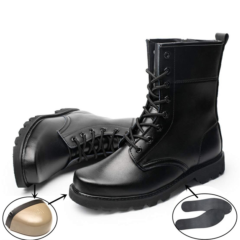 Steel Toe Cap New Military Boots Men Genuine Leather Combat Bot Infantry Tactical Boots Outdoor Work Steel Puncture Safety Shoes