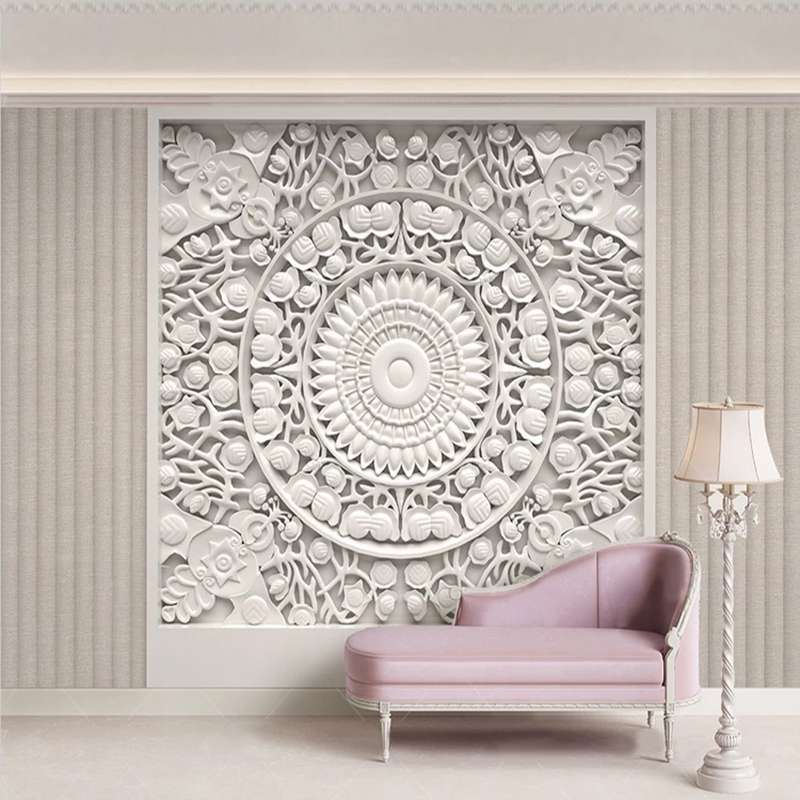 Custom 3D Wallpaper European Style White Gypsum Flowers Photo Wall Murals Living Room Bedroom Background Wall Painting 3D Fresco