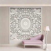Custom 3D Wallpaper European Style White Gypsum Flowers Photo Wall Murals Living Room Bedroom Background Wall Painting 3D Fresco