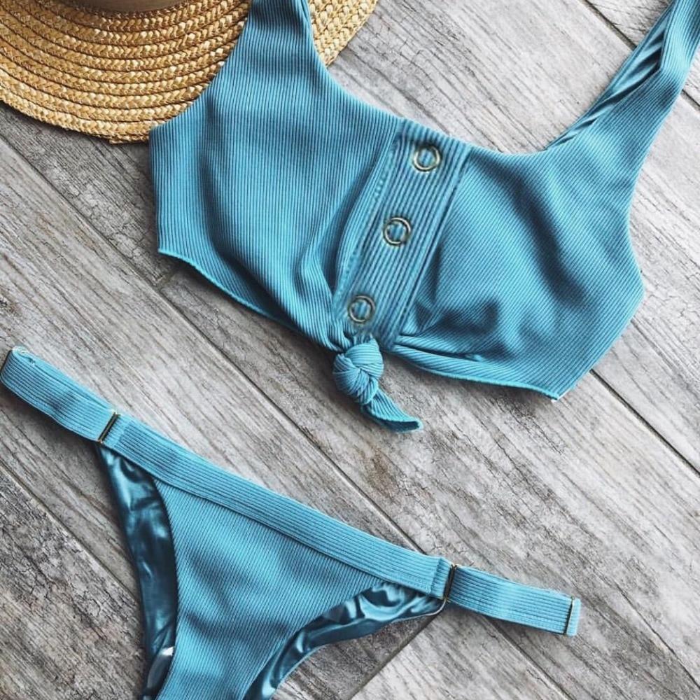 Sexy V Neck Sport Bikini 2019 Bow Knotted Swimsuit Women Ribbed Swimwear Female Bather Adjust Bathing Suit Two Pieces Bikini Set