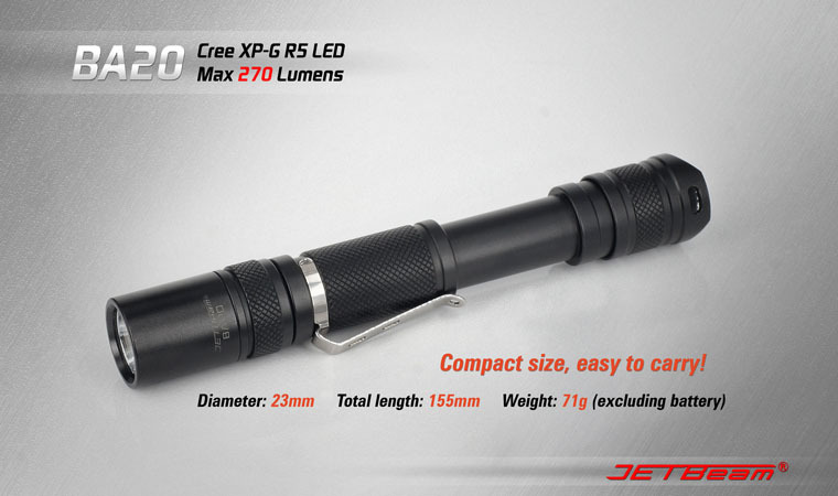 Free Shipping Original JETBEAM BA20 Cree R5 LED 270 lumens flashlight daily EDC torch Compatible with 2*AA battery