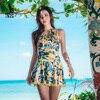 2018 New Floral One Piece Swimwear Skirt Bathing Suit Women Hot Spring Women Swimming Dress Female