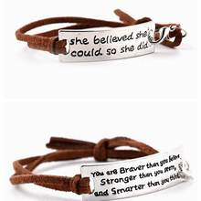 Zhijia you are braver than...smarter than think brown Bracelets Simple Round Bangles Leather Letter Bracelet party gifts