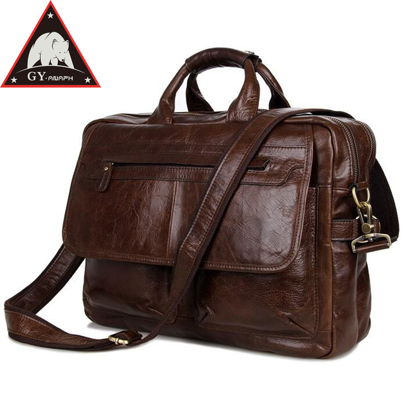 ANAPH Brand Full Grain Leather Briefcases For Men, 15 Inch Laptop Bag Men's Business Travel Bags Double Zippers Open In Coffee anaph 15 inch laptop briefcase men office work bags brown real cow leather top quality tote bag man double zippers open