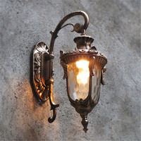 Modern Outdoor Wall Lights Garden Pathway Antique Wall Sconce Aluminum Vintage Country Chandelier Lighting Brown LED