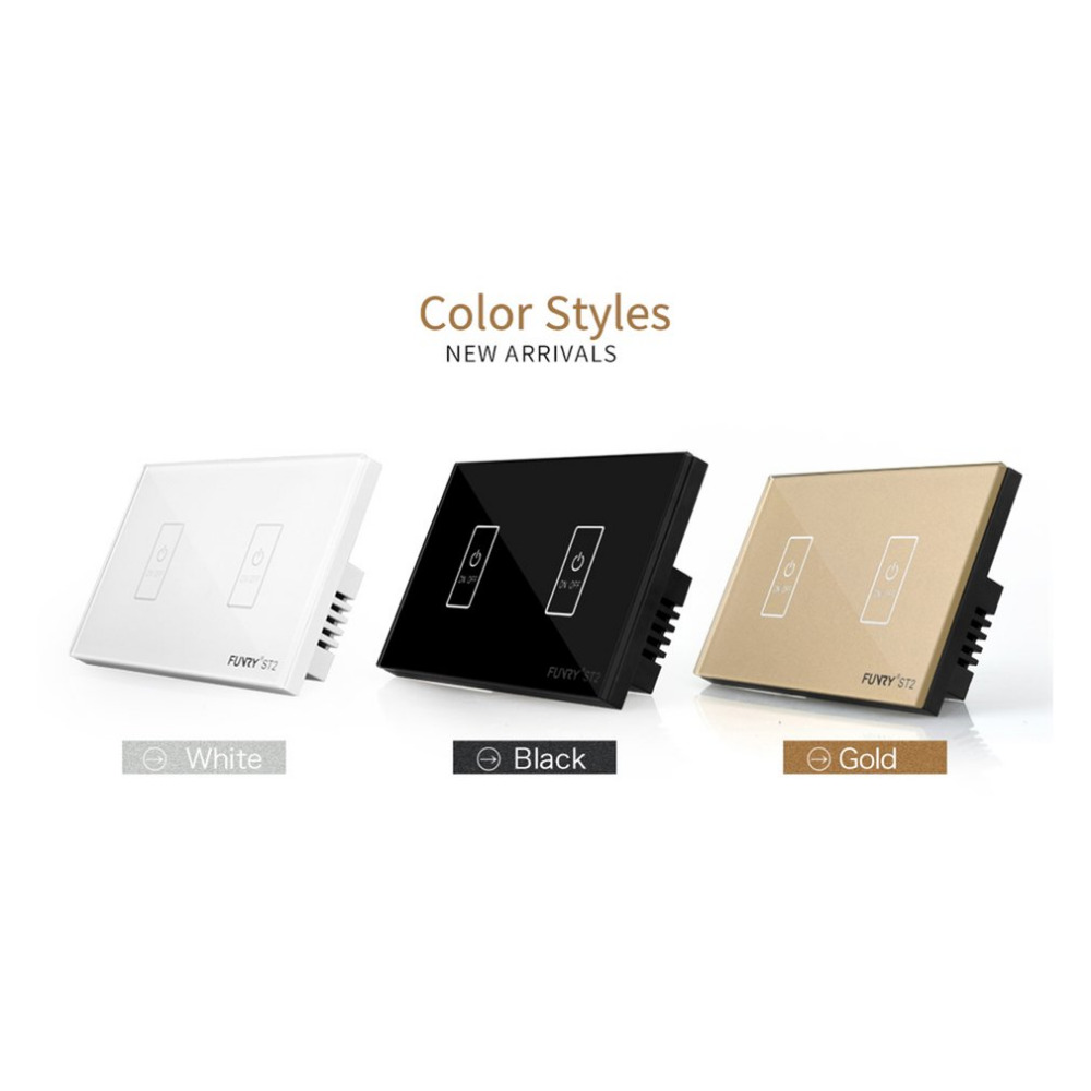 FUNRY High Quality Waterproof ST2-2-R US Gang Crystal Glass Panel Switch Luxury Panel Led Smart Remote Control Touch Switch Sale smart home us black 1 gang touch switch screen wireless remote control wall light touch switch control with crystal glass panel