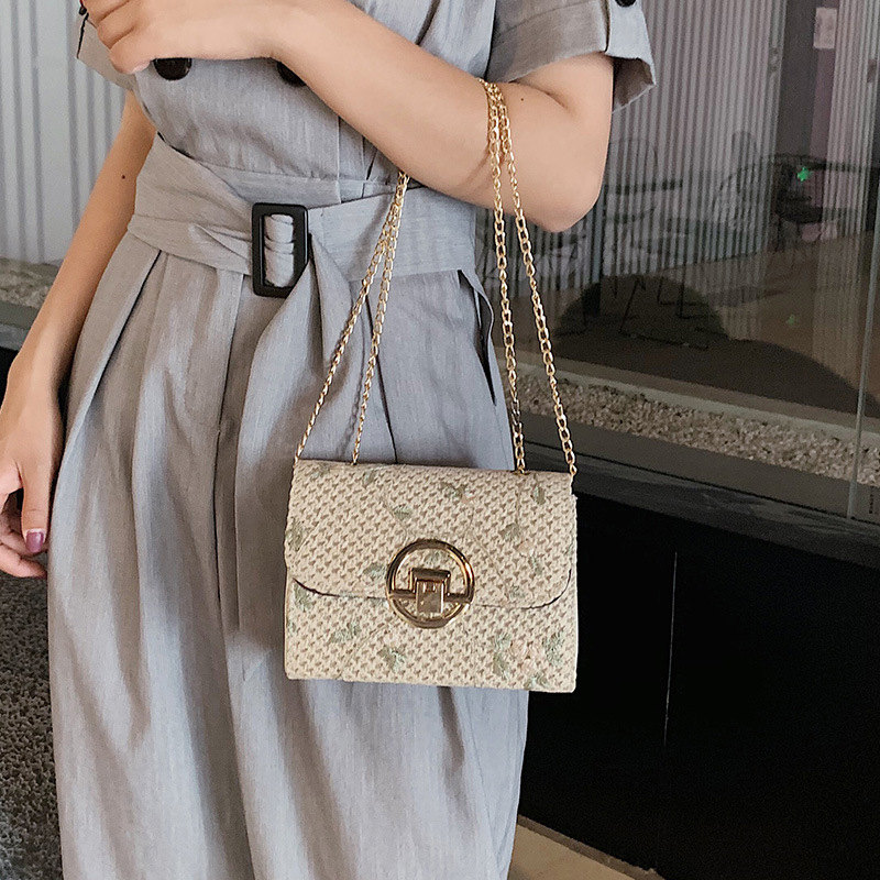 Lace Grass Woven Crossbody Bag High Quality Single Shoulder Small Square Bag 2019 Summer New Wave Korean Women 39 s Bag in Top Handle Bags from Luggage amp Bags