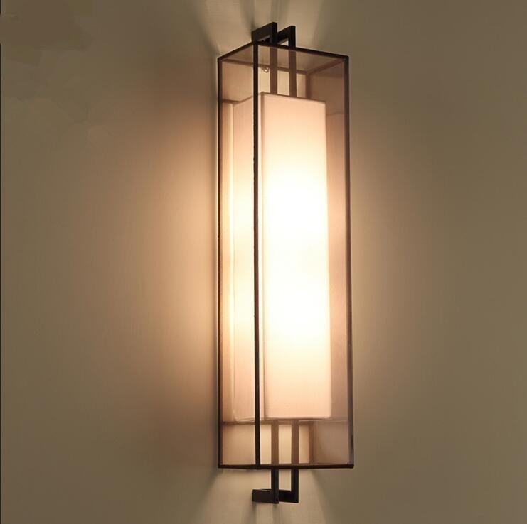 US $149.0 |Stile cinese applique da parete in ferro rettangolo studio  camera da letto scale corridoio lampada da comodino lampada da parete Hotel  ...