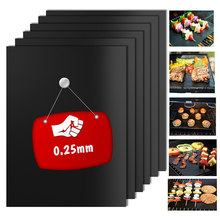 0.25mm BBQ Grill Mat Set, 100% Non-stick Baking Mats - Works on Gas, Charcoal, Electric Grill and More - Barbecue Tools(China)
