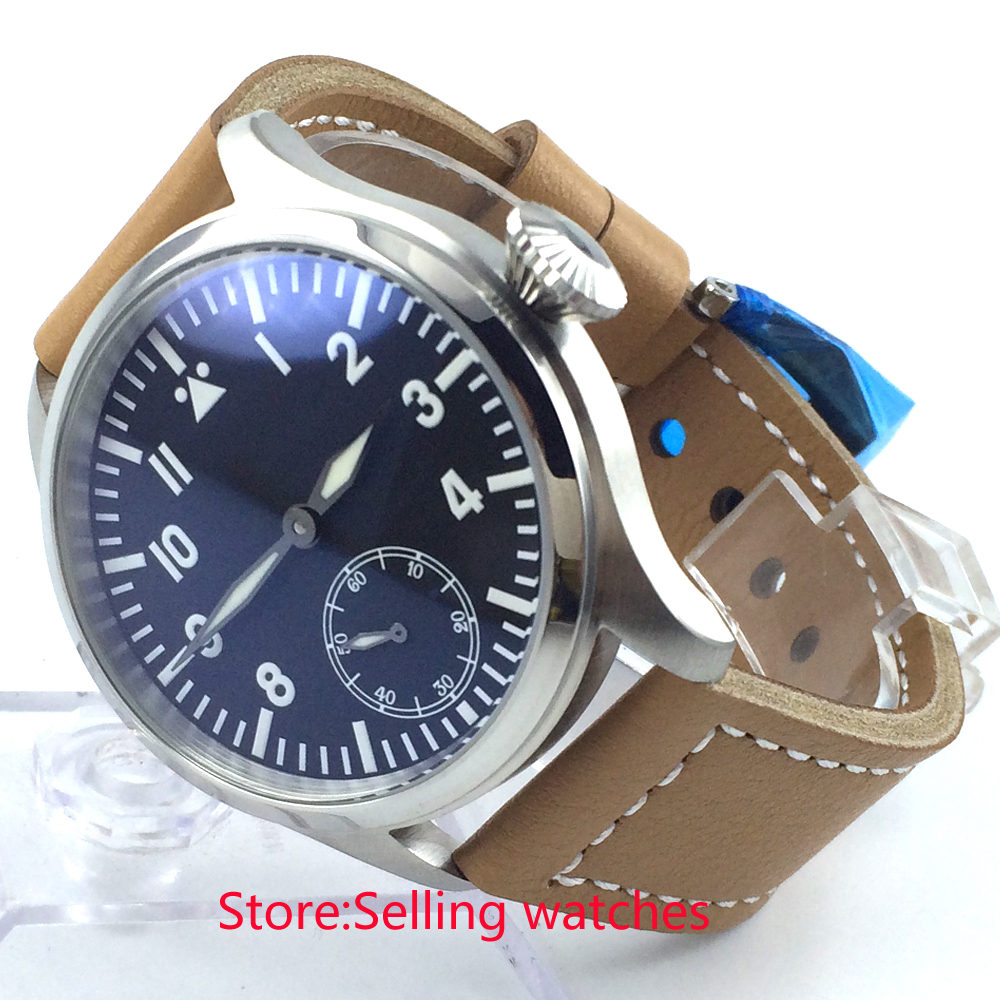 47mm parnis black dial blue luminous 6498 hand winding movement mens watch