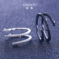 TONGLiN 925 Sterling Silver 2019 New Adjustable Snake Rings For Women black gold ring Two Colors Zirconia Ring Female Women Gift