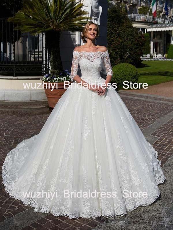 wuzhiyi Boat Neck Wedding Gown A line Custom made vestido de noiva half sleeves robe de